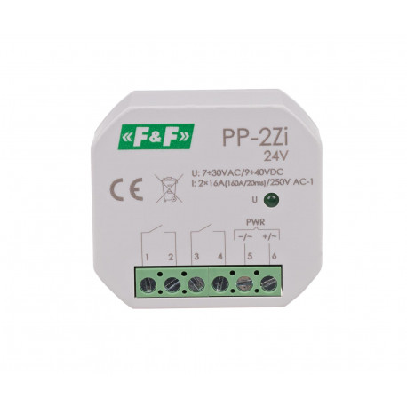 Przekaźnik elektromagnetyczny PP-2Zi 24 V do montażu w puszce podtynkowej Ø60