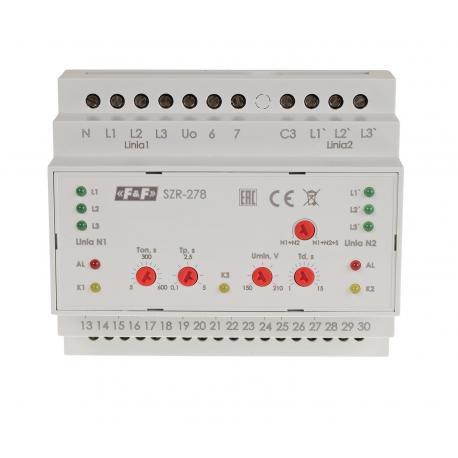 Sterownik rezerwy SZR-278 do kontroli parametrów i poprawności pracy linii zasilających