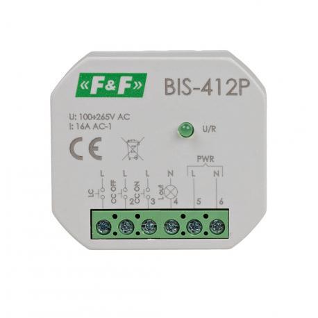 Grupowy (hotelowy) przekaźnik bistabilny BIS-412P 230 V wspólpracuje z przyciskami podświetlanymi