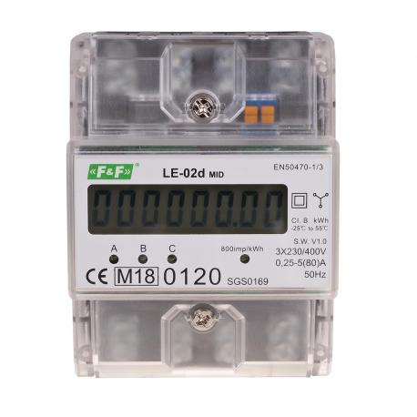 Trójfazowy licznik zużycia energii LE-02d certyfikat MID