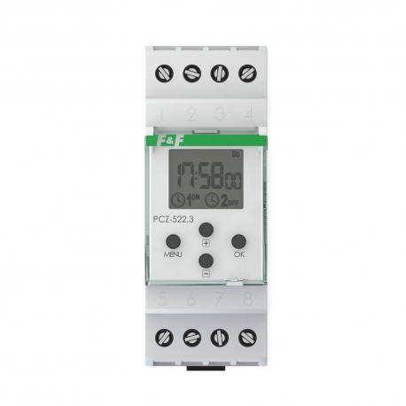 Zegar programowalny PCZ-522 Tygodniowy. Dwukanałowy.