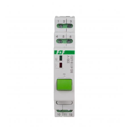 Przekaźnik bistabilny BIS-411B-LED 230V z przyciskiem sterującym, współpracuje z przyciskami podświetlanymi
