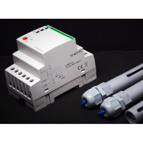 Przekaźnik PZ-829RC do kontroli poziomu cieczy w komplecie z 3 sondami
