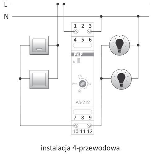 Automat schodowy - schemat podłączenia instalacja 4 przewodowa