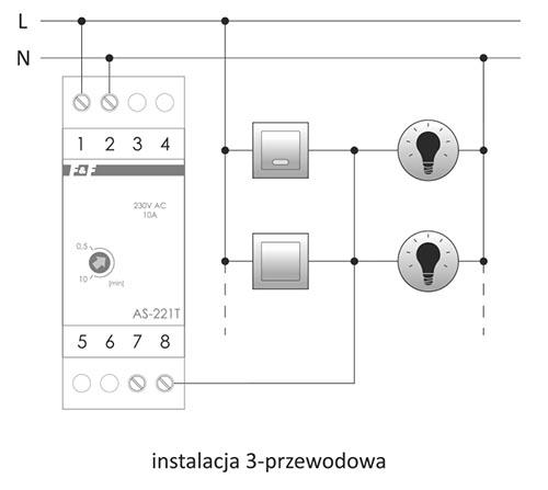 AS-221 automat schodowy - schemat podłączenia