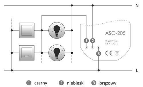 Automat schodowy ASO-205 schemat podłaczenia