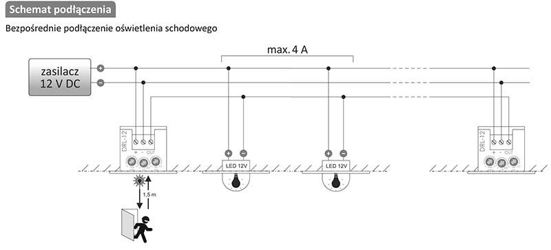 Laserowy czujnik odległości DRL-12 schemat