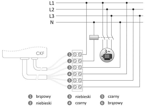 Czujnik kolejności i zaniku fazy - schemat podłączenia