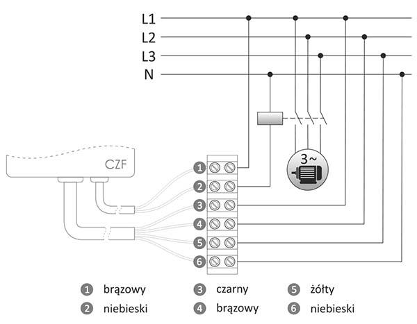 Czujnik zaniku fazy - schemat podłączenia