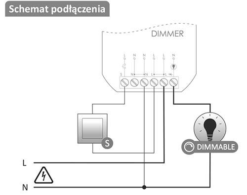 Schemat podłączenia modułu Dimmer - regulacja jasności oświetlenia