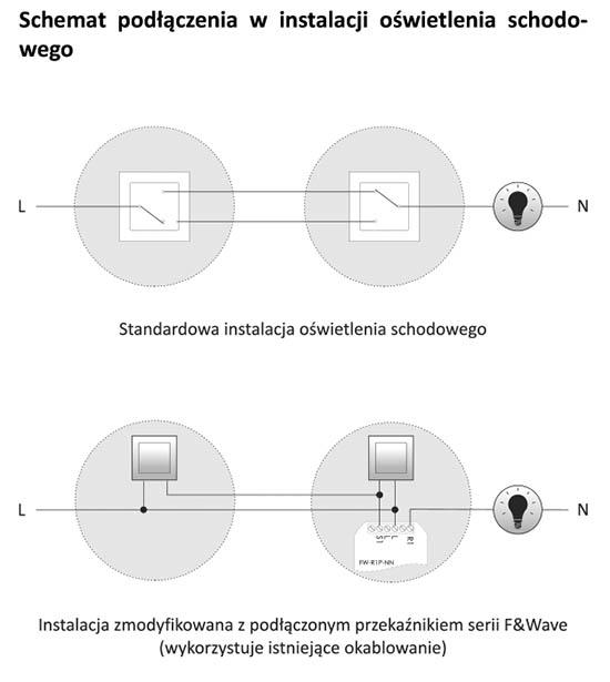 Przekaźnik w instalacji schodowej - schemat podłączenia