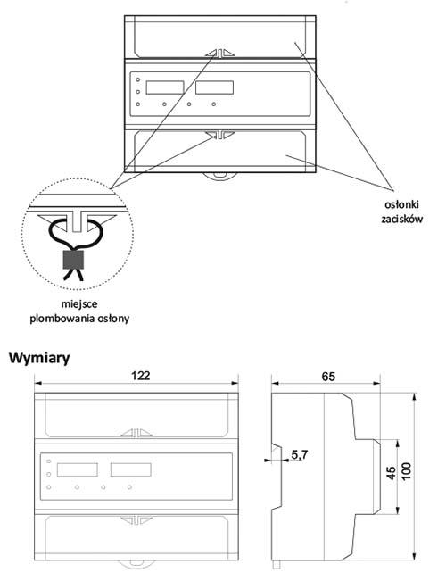 Licznik zużycia prądu LE-04d wymiary i plombowanie