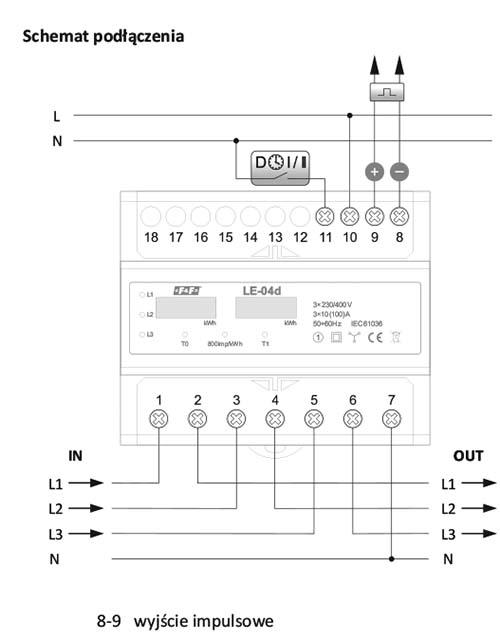 Licznik zużycia prądu LE-04d schemat podłączenia
