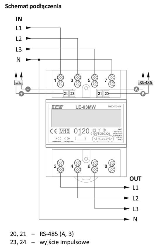 Licznik zużycia energii elektrycznej 3-fazowy schemat podłączenia