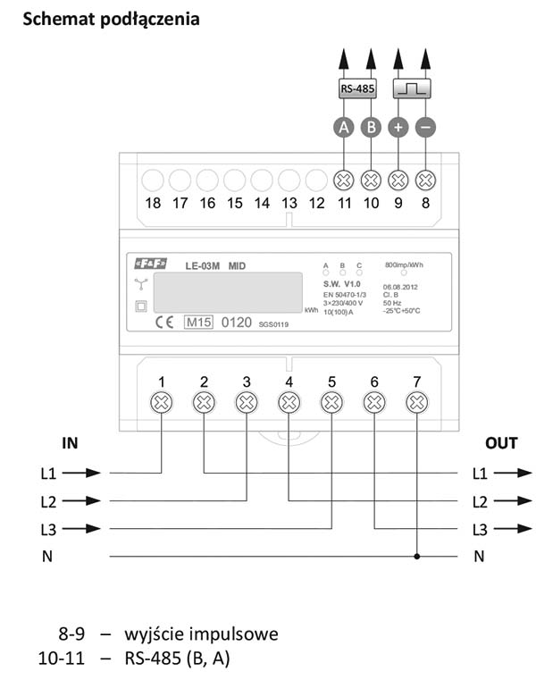 Schemat podłączenia dla licznika zużycia energii LE-03M