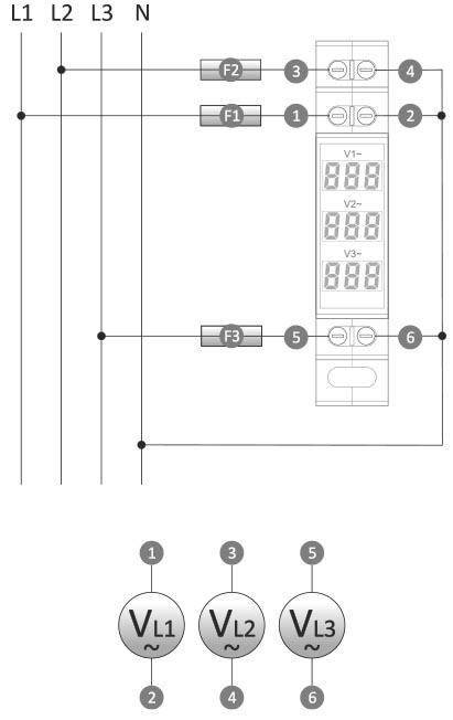 Wskaźnik napięcia wnc-3 trójfazowy schemat podłączenia