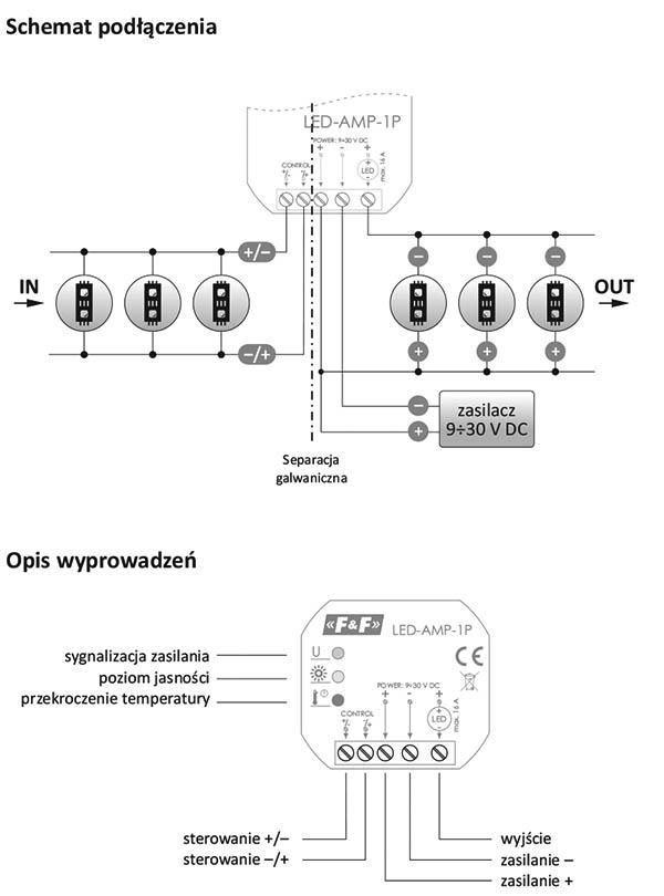 Wzmacniacz sygnału zasilającego - schematy podłączenia
