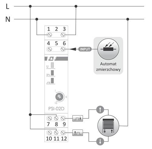 Przykładowa aplikacja przetwornika PSI-02D w połączeniu ze sterownikiem rolet: zamykanie rolet o zmierzchu i otwieranie o świcie