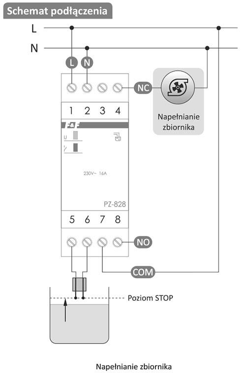 Przekaźnik poziomu cieczy - schemat podłączenia