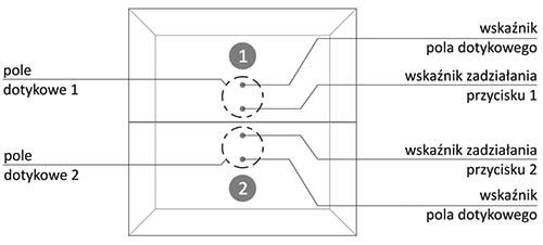 Przycisk szklany dotykowy - dwa pola dotyku