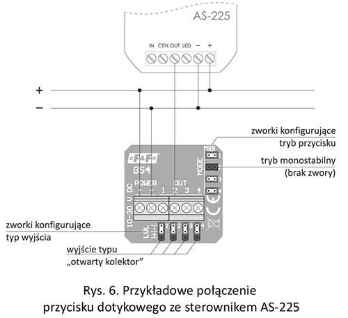 Przycisk dotykowy - połączenie ze sterownikiem schodowym AS-225
