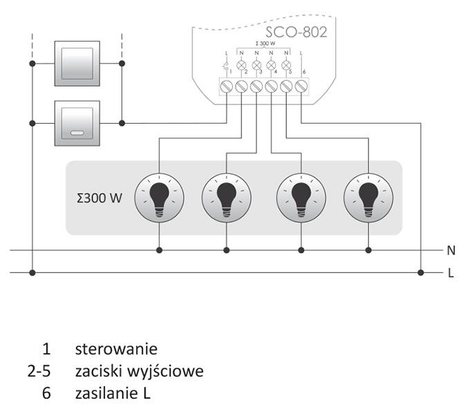 Ściemniacz oświetlenia SCO-802 schemat podłączenia