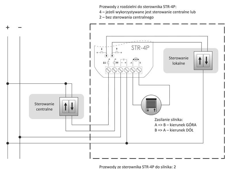 Sterownik rolet STR-4P dopuszkowy schemat podłączenia