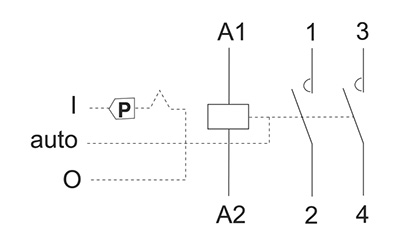 Stycznik modułowy - schemat podłączenia