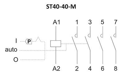 Stycznik modułowy ST40-40-M schemat podłączenia