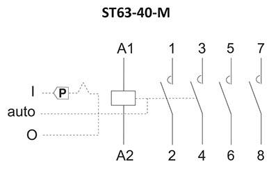 Stycznik modułowy ST63-40-M schemat podłączenia