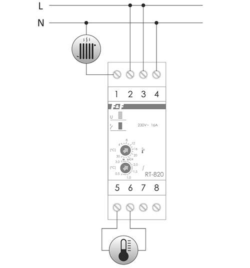 Regulator temperatury RT-820 schemat podłączenia