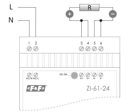 Zasilacz ZI-61 schemat podłączenia