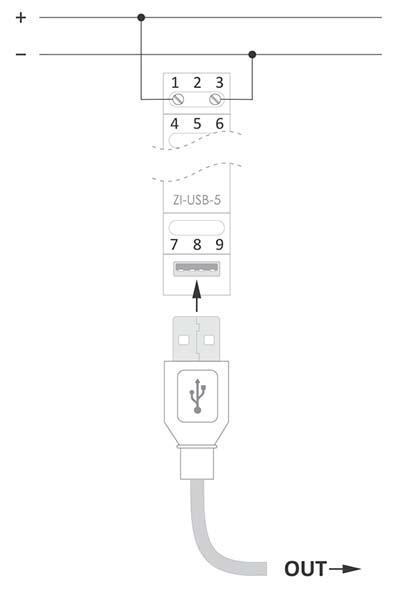 Zasilacz ze złączem USB - schemat podłączenia